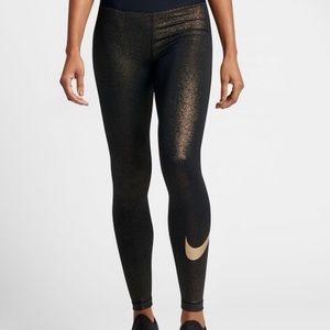 Nike black and gold glitter leggings